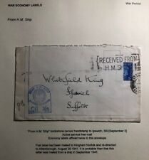 1941 HM Ship England War Economy Label Censored Cover To Ipswich