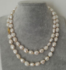 """Genuine 8-9MM Natural White Baroque Cultured Pearl Beads Necklace 36"""" JN1773"""