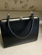 Classic Black Leather Vintage Structured Hand Bag Kelly Bag Purse *Excellent*