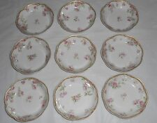"""Set Of 9 Haviland & Co Limoges 5"""" Desert Bowls Pink Roses Gold Trim Scallop Edge"""