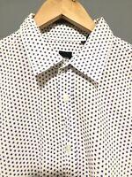 Hugo Boss Mens Shirt XL Slim Fit Purple Polka Dot White Shirt