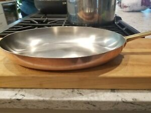 """Revere Ware Solid Copper Stainless Steel 12"""" oval saute pan brass handle"""