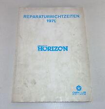 Reperaturrichtzeiten Chrysler/ Talbot/ Matra / Simca Horizon Von 1979