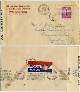 WW2 PATRIOTIC LABEL VICTORY 1942 ARGENTINA OLD IRONSIDES STAMP CLUB ENV CENSORED