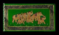 Parete Pittura Mughal Su Seta Arte Elefante India 39x20cm C8 1206