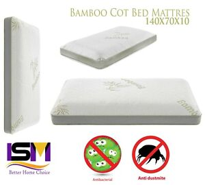 BABY COT BED TODDLER BAMBOO FOAM MATTRESS BREATHABLE 140 X 70 X 10 CM