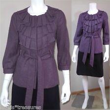Anthropologie Tabitha purple ruffle belted peacoat jacket wool fall coat 6