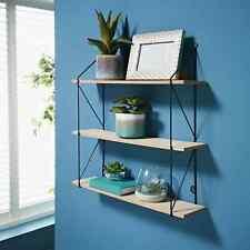 3 Tier Shelf Wall Hanging Shelves Black Metal Frame Wooden Shelves Storage Decor