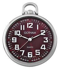 Gotham Men's Silver-Tone Slim Railroad Open Face Quartz Pocket Watch GWC15027SM