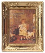 Dolls House Girl with Dogs Picture in Gold Frame Miniature Accessory Painting