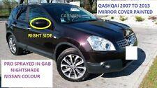 Nissan Qashqai 2007-2013 Cubierta del espejo de ala derecha Pintado GAB Nightshade