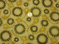 Tela Navidad Verde coronas dk Crema BG Oro Metálico reservado 100% algodón | CR50
