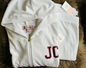 Juicy Couture White Velour Robertson Varsity Logo Hood&Zuma Jogger Tracksuit Set