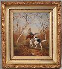 Antique 1898 American Bird Dog Hunting Oil Painting, English Springer Spaniel NR