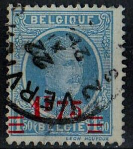 BELGIUM 1922 King Albert I 1.50fr overprint 1.75fr scott 160 blue STAMP