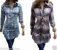 Size 8-16 Ladies womans cotton check checked plaid tunic dress long top work