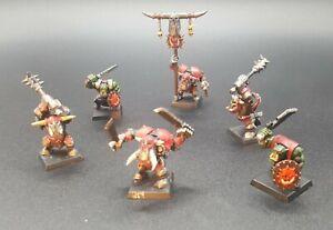 Warhammer Orcs GW 2006 Painted Plastic Troop of Six inc Orc Standard Bearer