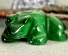 Green Cat's Eye Stone Frog Fetish Good Luck Totem Spirit Animal Figurine 790