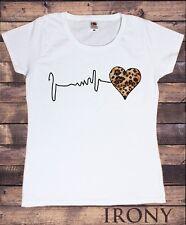Women's Leopard Skin Heart Beat Waves Electrocardiogram TS1574