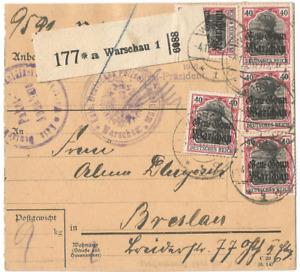 1. Weltkrieg, Deutsche Besetzung Polen, Paketkarte, Warschau, Polizei-Präsident