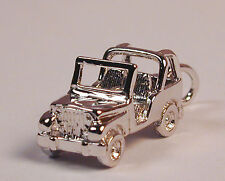 Sterling Silver JEEP Wrangler Charm with Lobster Claw Clasp Free U.S. Shipping