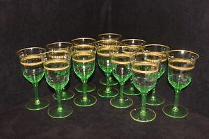 Rare Vintage Gold Rimmed Crystal, Green, Set of 12 Claret Wine Glasses, c1930's