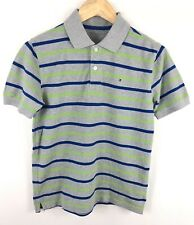 Boys Tommy Hilfiger Grey Green Short Sleeved Polo T Shirt Size Large 12-14 Yrs
