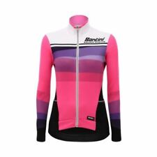 Maillots de ciclismo de manga larga rosa, para mujer