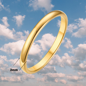 10K Solid Yellow Gold 2mm Plain Men's and Women's Wedding Band Ring