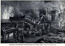 1914 Rückzug in Polen: Zerstörung der Eisenbahnanlagen * antique print