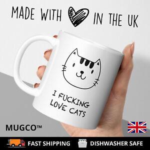 Love Crazy Cat Lady Fuck-Rude Novelty Tea Coffee Mug Cup Gift Animal White Mugs