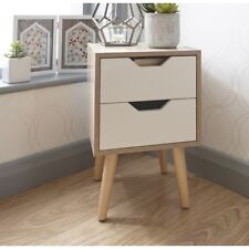 Bedside Cabinet 2 Drawer Oak Bedroom Furniture Solid Wood Legs Designer Uk