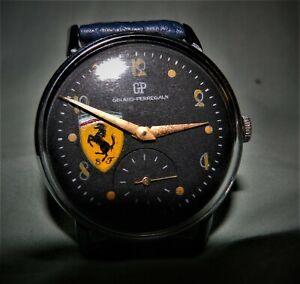 Vintage gents Full-Size  Girard-Perregaux Blk. dial Ferrari logo. 50's