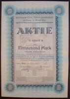 Stahlwerk Oese AG Aktie über 1000 Mark, OESE IN Westfalen 1923