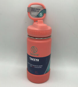 Takeya Kids 14oz Insulaated Water Bottle Stainless Steel With Strawl Lid Coral