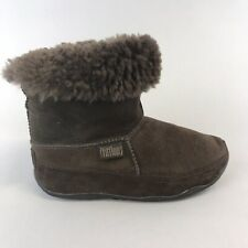 Fitflop Brown Leather Suede Ankle Pull On Warm Soft Fur Winter Wedge Boots UK6