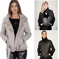 Womens Aviator Fleece Lined Belted Biker Jacket Coat With Silver Buckle Faux fur