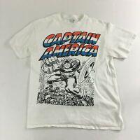 Men's Marvel Captain America White Color Short Sleeve T-Shirts Size L