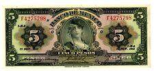 """Mexico ... 34c ... 5 Pesos ... 13-Nov-1941 ... CH*XF-AU*. Serie """"O""""."""