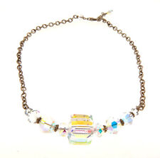 """Bead Necklace Choker .5x15"""" Sterling Silver Crystal Glass"""