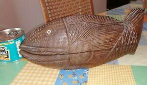 Vintage Maori / Polynesian carved patterned Tiki hardwood fish