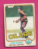 1981-82 OPC # 107 OILERS JARI KURRI ROOKIE CREASED CARD (INV# D1493)
