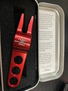 NEW Titleist Scotty Cameron Red Divot Pivot Repair Tool and Aluminum Tin