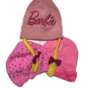 Barbie Kids Girls Pink Winter Hats Lot 3 Fits 5-8 year