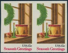 "#1843a 15¢ ""Season'S Greetings"" Imperf Pair Major Error Bq8660"