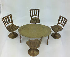 dollhouse brass table and chair set miniature brass table four chair set