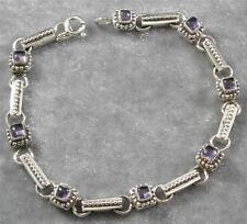 ".925 Sterling Silver Art Deco Style Petite Iolite Gemstone Bracelet 7 1/4"""