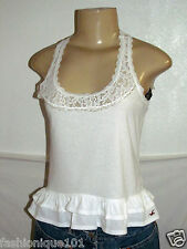 NWT HOLLISTER WOMENS WHITE LACE TRIM TANK CAMI RACER TOP BLOUSE SIZE EXTRA SMALL