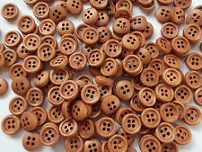 50 x 9mm ROUND WOODEN BUTTONS - 4 HOLE - SEWING, SCRAPBOOKSING, CRAFTS ETC.,
