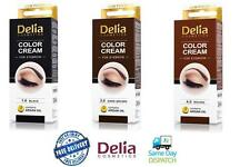 DELIA HENNA COLOR CREAM EYEBROW PROFESSIONAL TINT KIT SET Black/Brown/Dark Brown